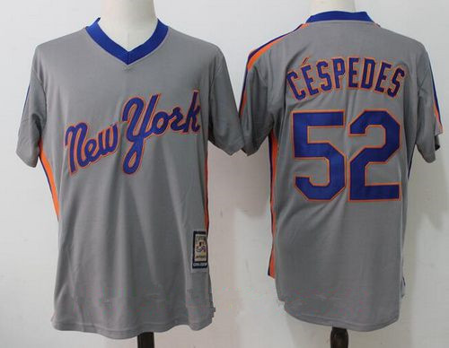 Men's New York Mets #52 Yoenis Cespedes Gray Pullover Stitched MLB Majestic Cooperstown Collection Jersey
