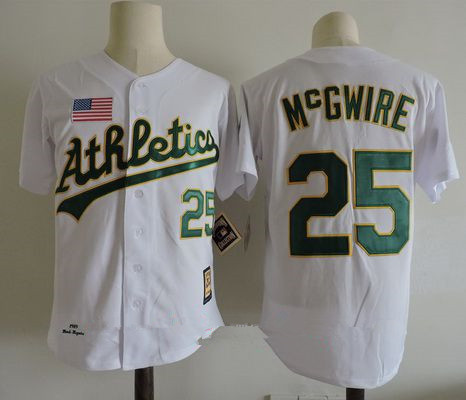 Men's Oakland Athletics #25 Mark Mcgwire White 1989 World Series Throwback Cooperstown Collection Stitched MLB Mitchell & Ness Jersey