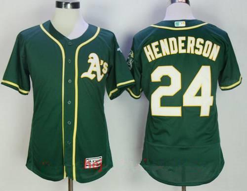 Men's Oakland Athletics #24 Rickey Henderson Retired Dark Green Stitched MLB Majestic Flex Base Jersey