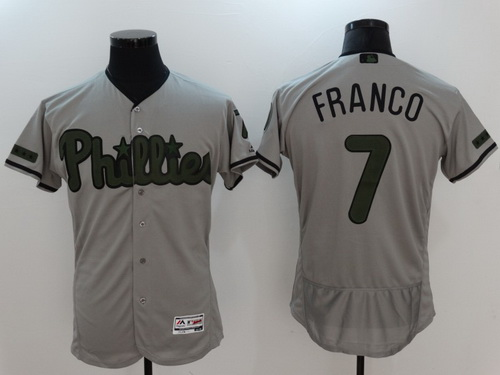 Men's Philadelphia Phillies #7 Maikel Franco Gray With Green Memorial Day Stitched MLB Majestic Flex Base Jersey