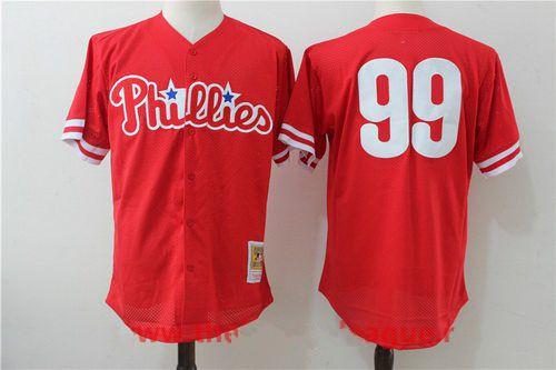 Men's Philadelphia Phillies #99 Mitch Williams Red Throwback Mesh Batting Practice Stitched MLB Mitchell & Ness Jersey