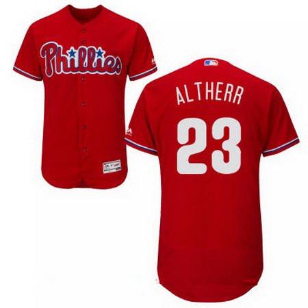 Men's Philadelphia Phillies #23 Aaron Altherr Red Alternate Stitched MLB Majestic Flex Base Jersey