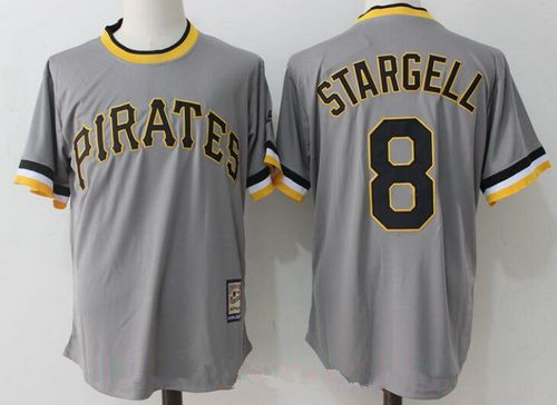 Men's Pittsburgh Pirates #8 Willie Stargell Retired Gray Pullover Stitched MLB Majestic Cooperstown Collection Jersey