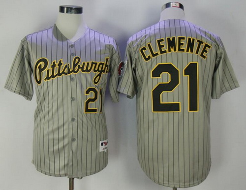 Men's Pittsburgh Pirates #21 Roberto Clemente Gray Pinstripe 1997 Throwback Turn Back The Clock MLB Majestic Collection Jersey