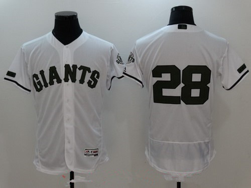 Men's San Francisco Giants #28 Buster Posey White with Green Memorial Day Stitched MLB Majestic Flex Base Jersey