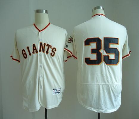 Men's San Francisco Giants #35 Brandon Crawford No Name Cream Home Stitched MLB Majestic Flex Base Jersey