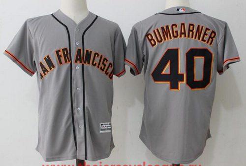 Men's San Francisco Giants #40 Madison Bumgarner Gray Road Stitched MLB Majestic Cool Base Jersey