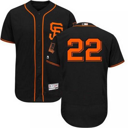 Men's San Francisco Giants #22 Christian Arroyo No Name Black Alternate Stitched MLB 2017 Majestic Flex Base Jersey