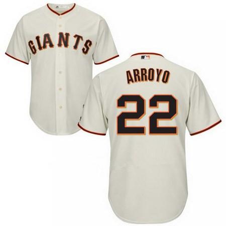 Men's San Francisco Giants #22 Christian Arroyo Cream Home Stitched MLB Majestic Flex Base Jersey