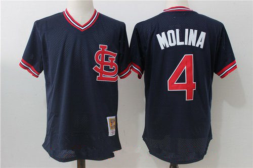 Men's St. Louis Cardinals #4 Yadier Molina Navy Blue Throwback Mesh Batting Practice Stitched MLB Mitchell & Ness Jersey