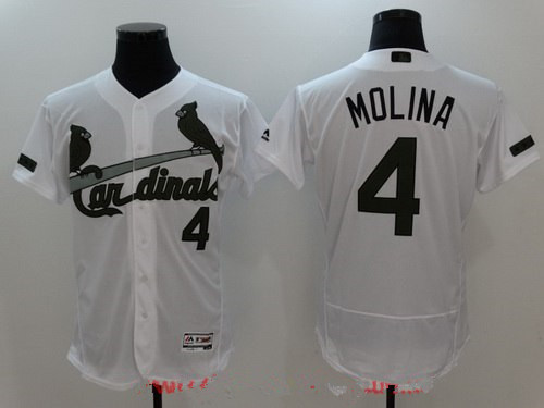 Men's St. Louis Cardinals #4 Yadier Molina White with Green Memorial Day Stitched MLB Majestic Flex Base Jersey