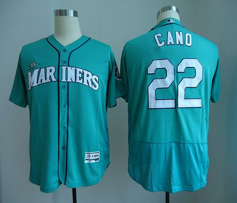 Men's Seattle Mariners #22 Robinson Cano Teal Green Stitched MLB Majestic Flex Base Jersey