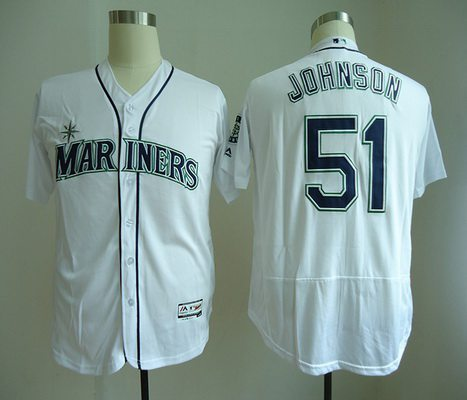Men's Seattle Mariners #51 Randy Johnson Retired White Home Stitched MLB Majestic Flex Base Jersey