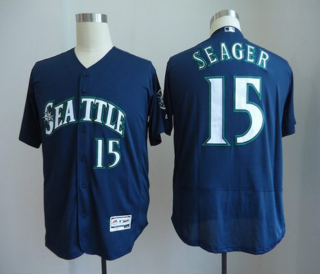 Men's Seattle Mariners #15 Kyle Seager Navy Blue Stitched MLB Majestic Flex Base Jersey