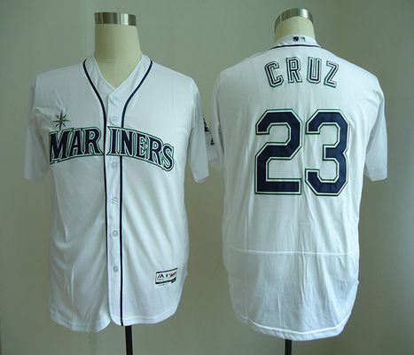 Men's Seattle Mariners #23 Nelson Cruz White Home Stitched MLB Majestic Flex Base Jersey
