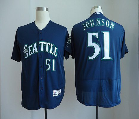Men's Seattle Mariners #51 Randy Johnson Retired Navy Blue Stitched MLB Majestic Flex Base Jersey