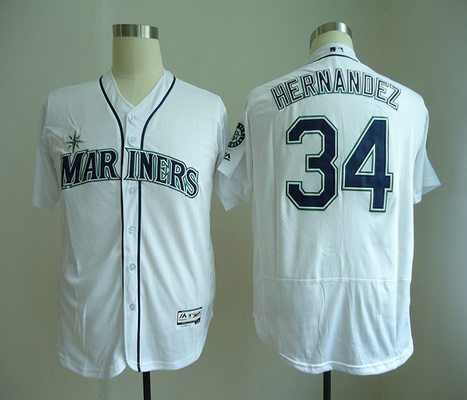 Men's Seattle Mariners #34 Felix Hernandez White Home Stitched MLB Majestic Flex Base Jersey