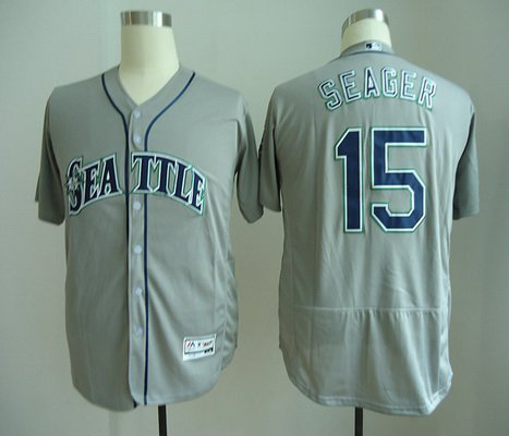 Men's Seattle Mariners #15 Kyle Seager Gray Road Stitched MLB Majestic Flex Base Jersey