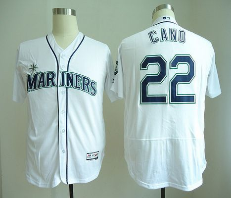 Men's Seattle Mariners #22 Robinson Cano White Home Stitched MLB Majestic Flex Base Jersey