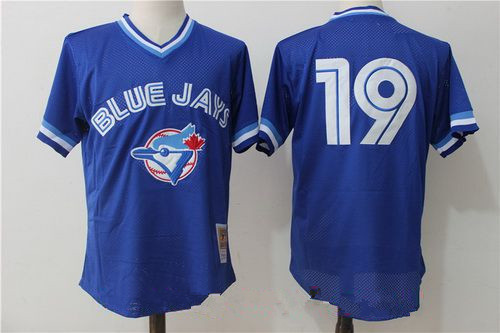 Men's Toronto Blue Jays #19 Jose Bautista Royal Blue Throwback Mesh Batting Practice Stitched MLB Mitchell & Ness Jersey