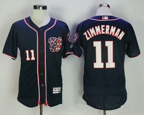 Men's Washington Nationals #11 Ryan Zimmerman Navy Blue Stitched MLB Majestic Flex Base Jersey