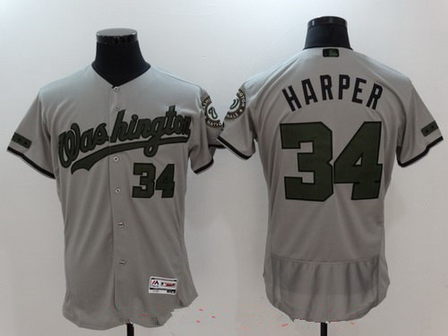 Men's Washington Nationals #34 Bryce Harper Gray with Green Memorial Day Stitched MLB Majestic Flex Base Jersey