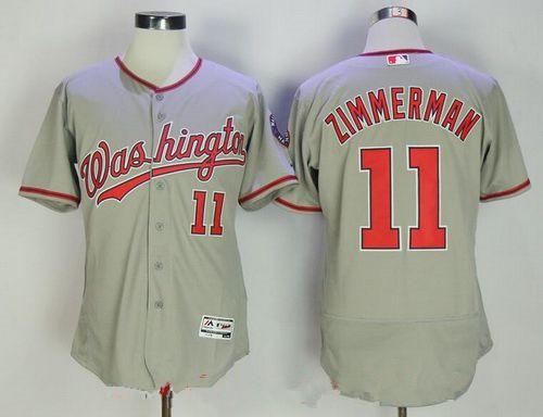 Men's Washington Nationals #11 Ryan Zimmerman Gray Road Stitched MLB Majestic Flex Base Jersey