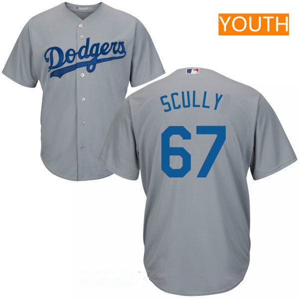 Youth Los Angeles Dodgers Sportscaster #67 Vin Scully Retired Gray Alternate Stitched MLB Majestic Cool Base Jersey
