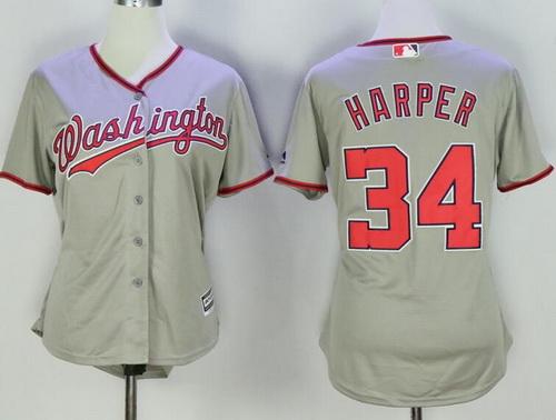 Youth Washington Nationals #34 Bryce Harper Gray Road Stitched MLB Majestic Cool Base Jersey
