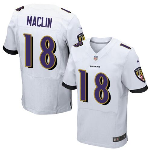 Nike Baltimore Ravens #18 Jeremy Maclin White Men's Stitched NFL Elite Jersey