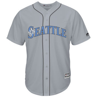 Men's Seattle Mariners Majestic Gray Father's Day Cool Base Replica Team Jersey