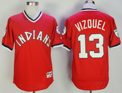 Men's Cleveland Indians #13 Omar Vizquel Retired Red Pullover Cooperstown Collection Stitched MLB Majestic Cool Base Jersey