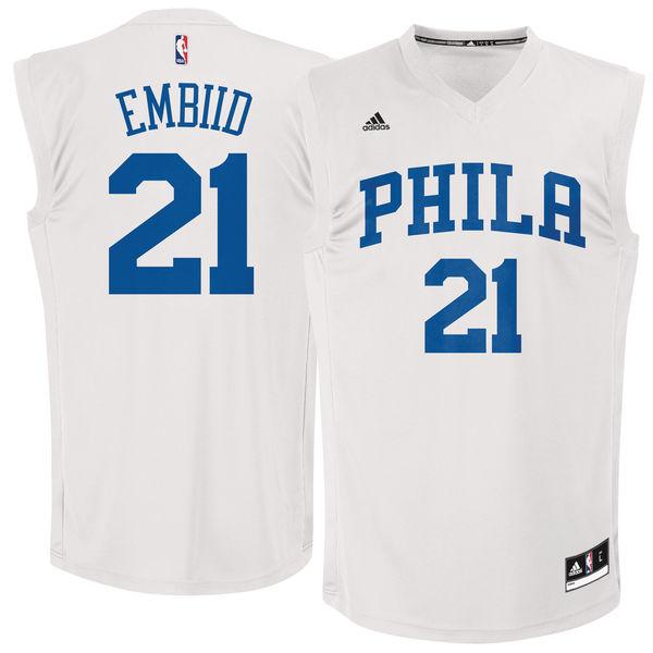 Philadelphia 76ers #21 Joel Embiid White Chase Fashion Replica Jersey