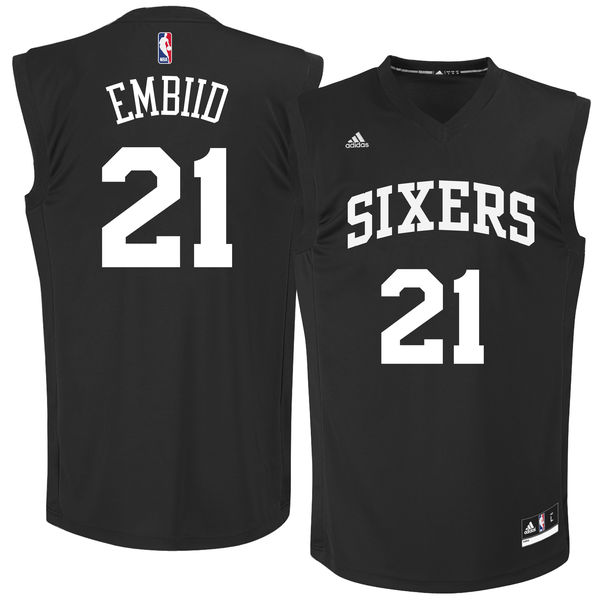 Philadelphia 76ers #21 Joel Embiid Black Chase Fashion Replica Jersey