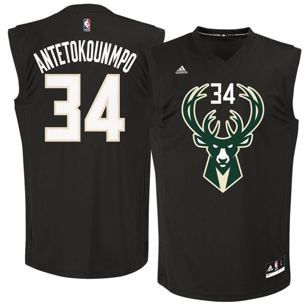 Milwaukee Bucks #34 Giannis Antetokounmpo Black Fashion Replica Jersey