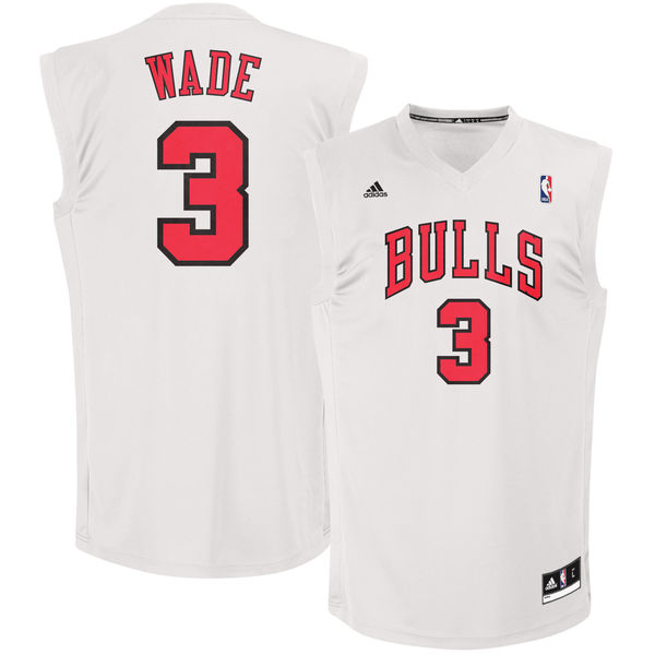 Chicago Bulls 3 Dwayne Wade White Fashion Replica Jersey