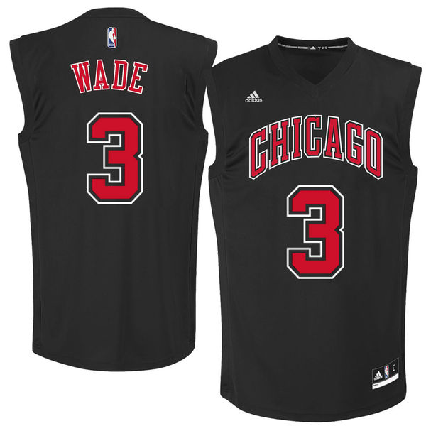 Chicago Bulls 3 Dwayne Wade Black Fashion Replica Jersey