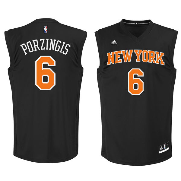 New York Knicks #6 Kristaps Porzingis Black Fashion Replica Jersey