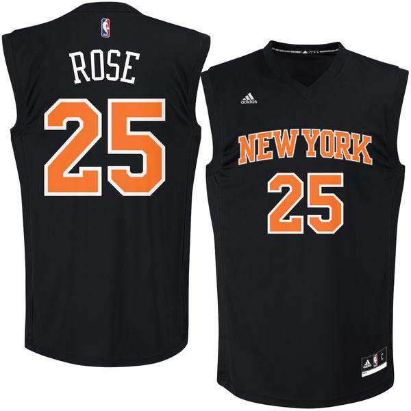 New York Knicks #25 Derrick Rose Black Fashion Replica Jersey
