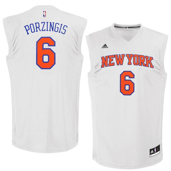 New York Knicks #6 Kristaps Porzingis White Chase Fashion Replica Jersey