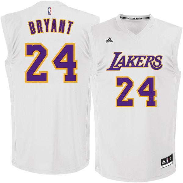Los Angeles Lakers #24 Kobe Bryant White Chase Fashion Replica Jersey