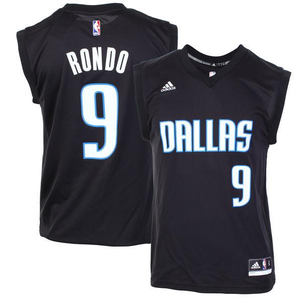 Men's Dallas Mavericks #9 Rajon Rondo Black Fashion Replica Jersey