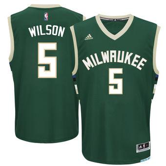 Men's Milwaukee Bucks #5 D.J. Wilson adidas Green 2017 NBA Draft Pick Replica Jersey