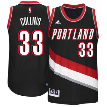 Men's Portland Trail Blazers #33 Zach Collins adidas Black 2017 NBA Draft Pick Replica Jersey