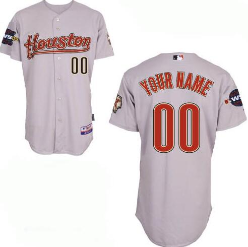 Men's Houston Astros Gray Road With 2005 World Series Patch Majestic Cool Base Custom Baseball Jersey