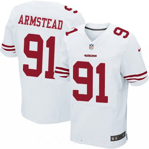 Men's San Francisco 49ers #91 Arik Armstead White Road Stitched NFL Nike Elite Jersey