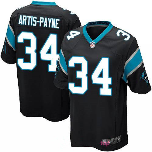 Men's Carolina Panthers #34 Cameron Artis-Payne Black Team Color Stitched NFL Nike Game Jersey