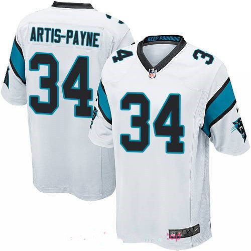 Men's Carolina Panthers #34 Cameron Artis-Payne White Road Stitched NFL Nike Game Jersey