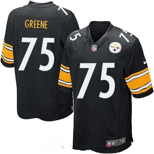 Men's Pittsburgh Steelers #75 Joe Greene Black Team Color Stitched NFL Nike Game Jersey