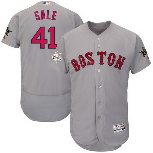 Men's Boston Red Sox #41 Chris Sale Majestic Gray 2017 MLB All-Star Game Worn Stitched MLB Flex Base Jersey
